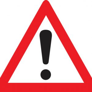 Red warning exclamation point sign