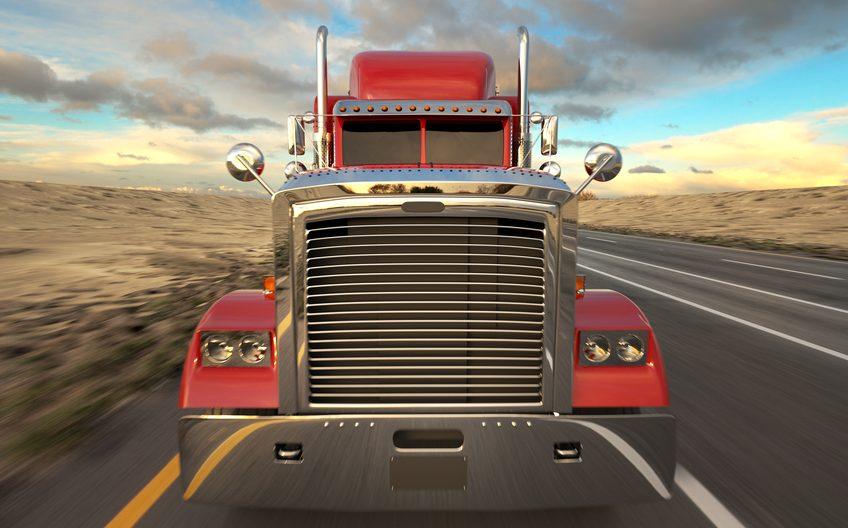 18 Wheel Truck on the road. Semi-trailer truck.