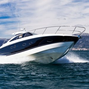 Luxurious yacht speedboat riding on a sea