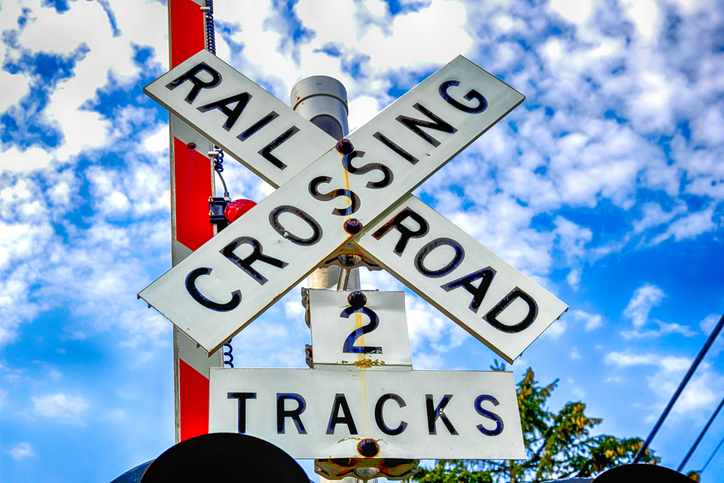 Railroad Crossing 2 tracks warning sign.