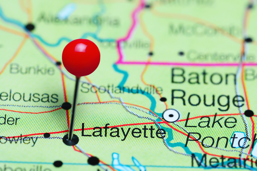 Lafayette, LA on a map with a red place marker pin.
